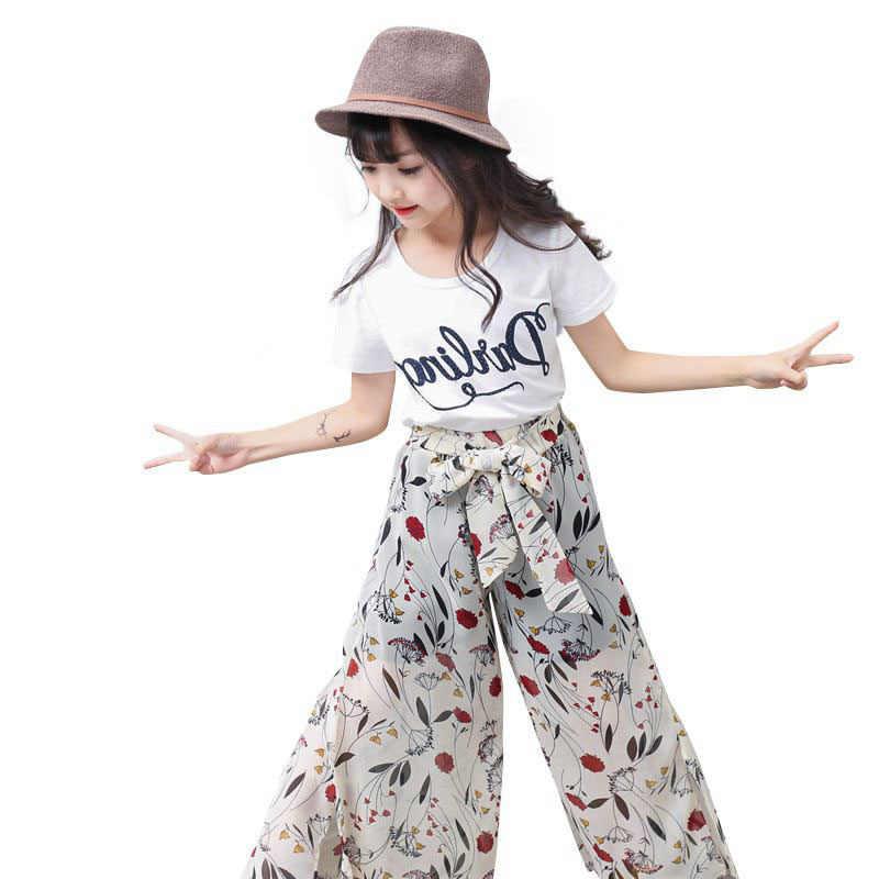 Conjunto De Ropa De Verano 2019 Para Ninas Conjunto De Camiseta De Manga Corta De Algodon Pantalones Anchos De Gasa Ropa Para Ninos De 6 A 14 Anos Set De Ropa Aliexpress