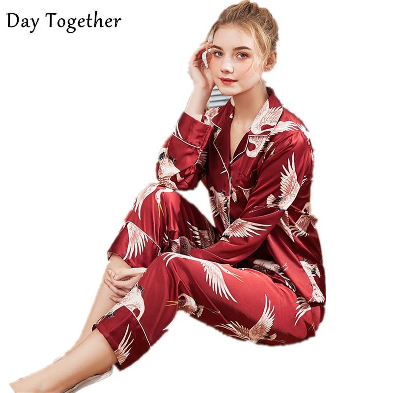 Women Satin Sleepwear Women Silk Pajama 2 Piece Sets Ladies Pyjamas Print Silk Home Clothing Homewear For Femme