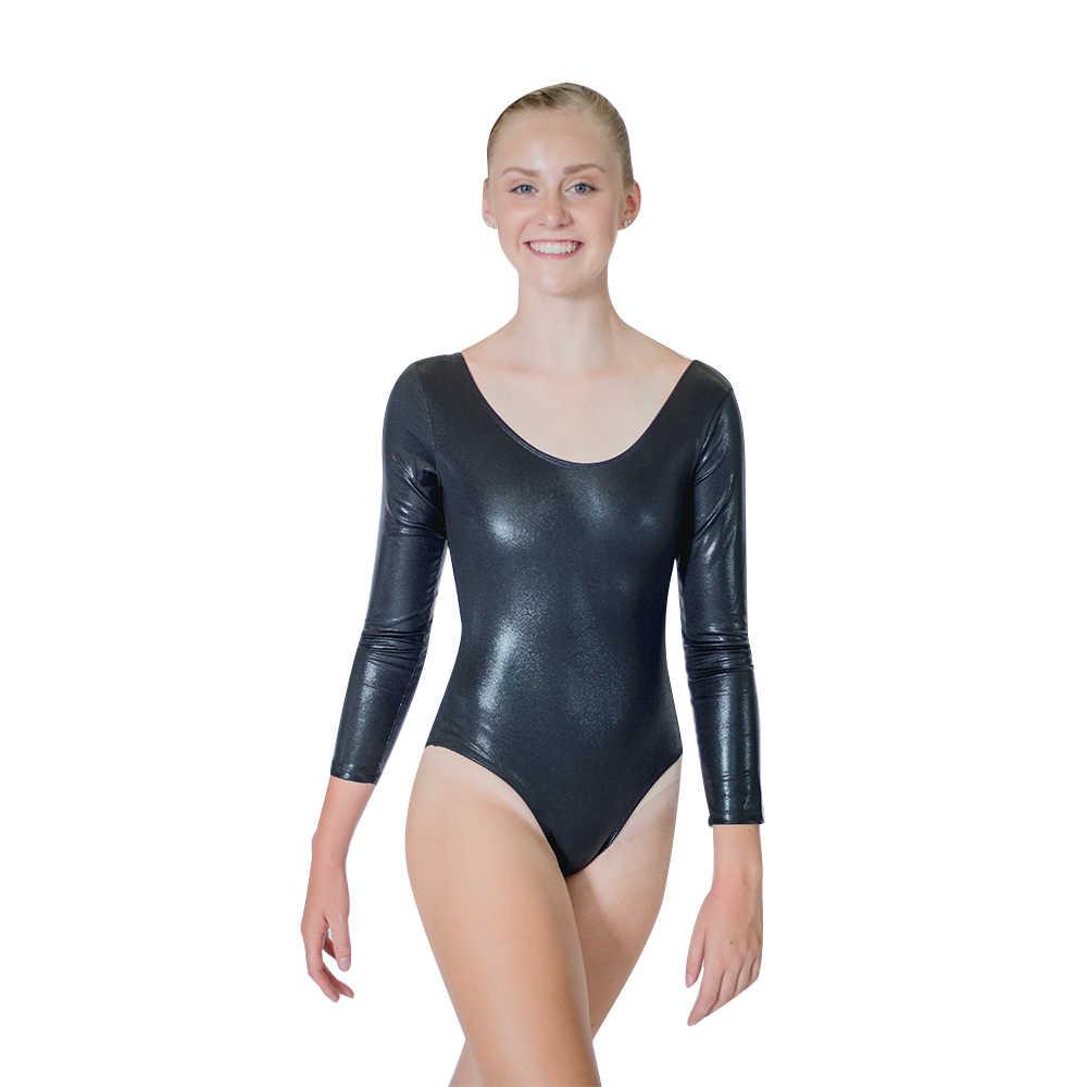 07d41ced933b6 Блестящие черный, белый цвет с длинным рукавом спортивный купальник для  девочек NylonLycra пятнистый узор ткани