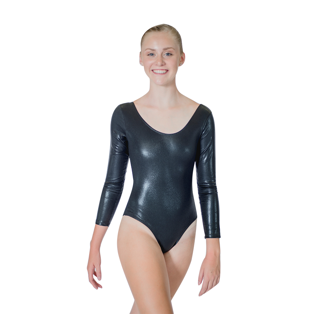 186a72880d Shiny Black White Long Sleeve Gymanstic Leotard Girls NylonLycra Spotted  Pattern Fabric Women Dance Bodysuit