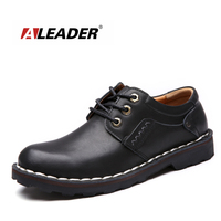 Aleader Brand Design Mens Casual Shoes Fashion Martin Boots Male Outdoor Shoes Genuine Leather Flats Shoes