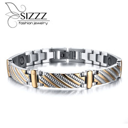 Vnox Stainless Steel Bracelet Bangle Health Care Magnets Men's Jewelry Exquisitive Carving Bracelet