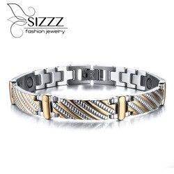 Vnox Stainless Steel Bracelet Bangle Health Care Magnets Men's Jewelry Exquisitive Carving Bracelet