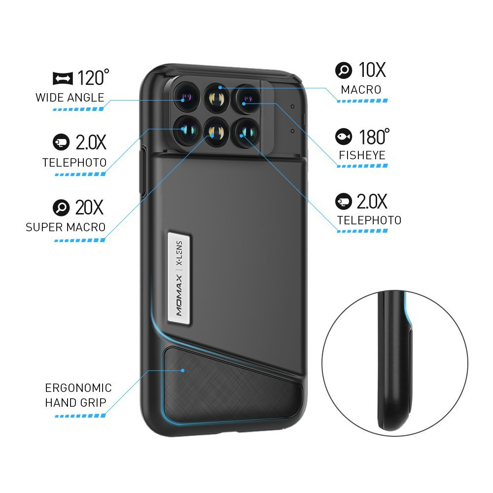 promo code 4a0b8 8774b US $56.65 |MOMAX Original Pro 6 in 1 Phone Lens Case For iPhone X Fisheye  Wide Angle Macro Telescope Lenses Phone Case With TPU Protective -in Mobile  ...