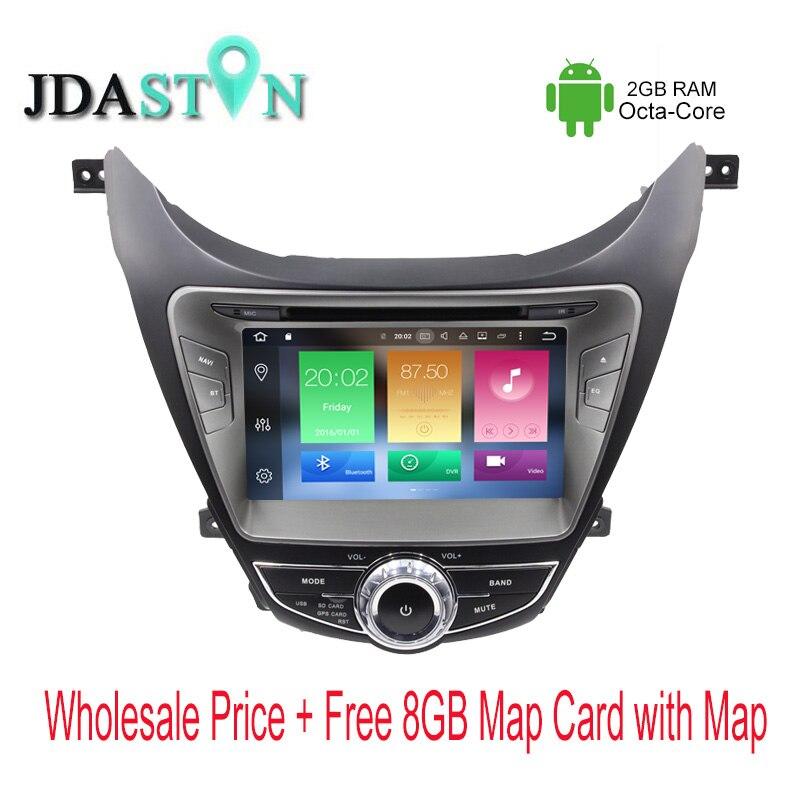 JDASTON Octa Core Android 6 0 font b Car b font DVD Player For HYUNDAI Elantra