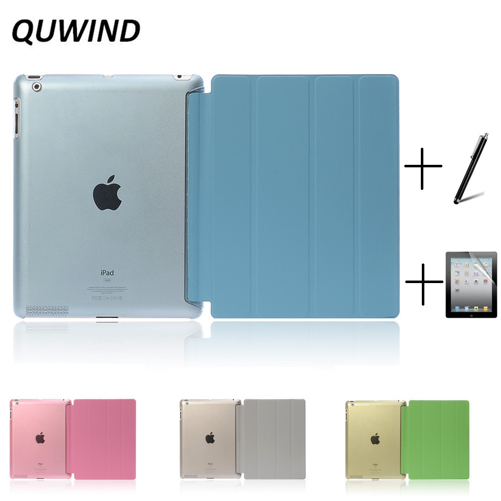 QUWIND Ultra Slim Four Fold PU Leather with Crystal Hard Back Smart Stand Case Cover for iPad 2 iPad 3 iPad 4 Mini 1 2 3 ocube tri fold ultra slim tpu silicon back folio stand holder pu leather case cover for apple ipad 6 ipad air 2 9 7 tablet