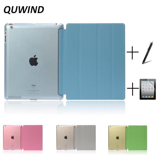 QUWIND ультра тонкий четыре раза искусственная кожа с кристаллами жесткий чехол для iPad 2 iPad 3 iPad 4 Mini 1 2 3