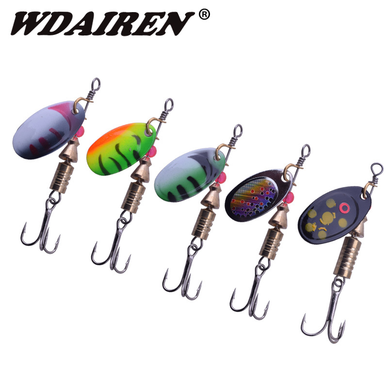 5pcs/lot 5.5g 3.5g Fishing Lure Hook Spinner Spoon Lures Rotating metal sequins bait Hooks Peche Jig Anzuelos De Pesca WD-408