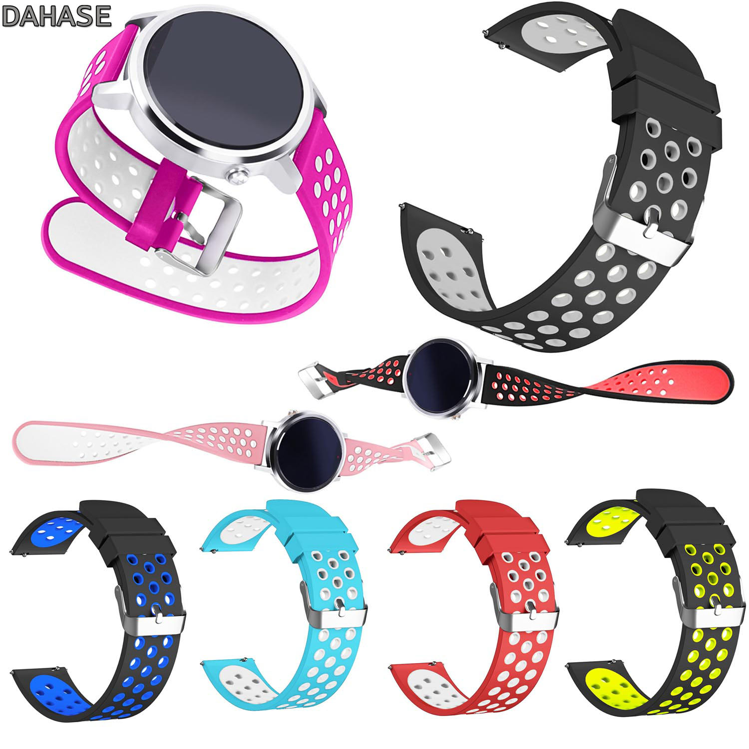 DAHASE Breathable Dual Colors Soft Silicone Strap for Huawei Smart Watch 2 Sport Band 20mm / Huawei Watch 1st Bracelet 18mm polar soft strap st xxxl gen