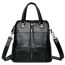 Fashion Leisure Travel Women Backpacks Womens PU Leather Tassel Female School Shoulder Tote Bags for Teenage Girls