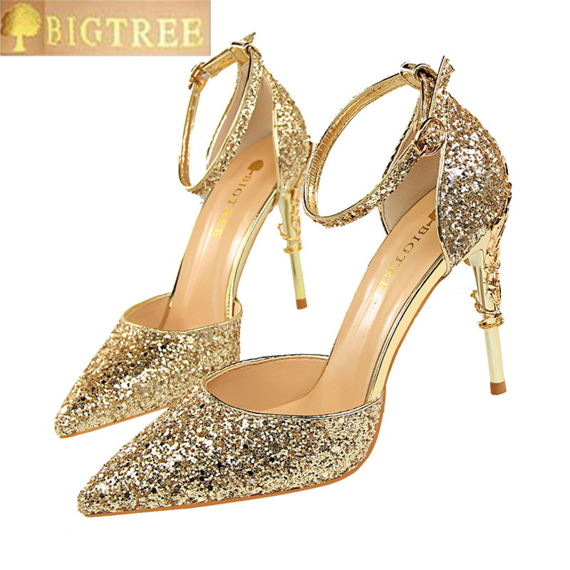 Shining Sequined Cloth Buckle Sandals Womens Fashion Carved Metal Heels Party Shoes Pointed Toe Shallow High Heels Shoes Women