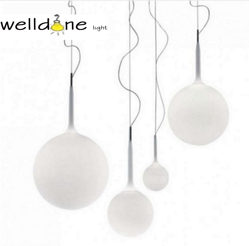 Globe Milk White Round Ball Glass Pendant Lights for Dining Room Modern Simple Lighting Home Decor Stair suspension lamp xinqite home furnishing ornaments product suspension globe round 3 inch 85mm blue english version of the spot