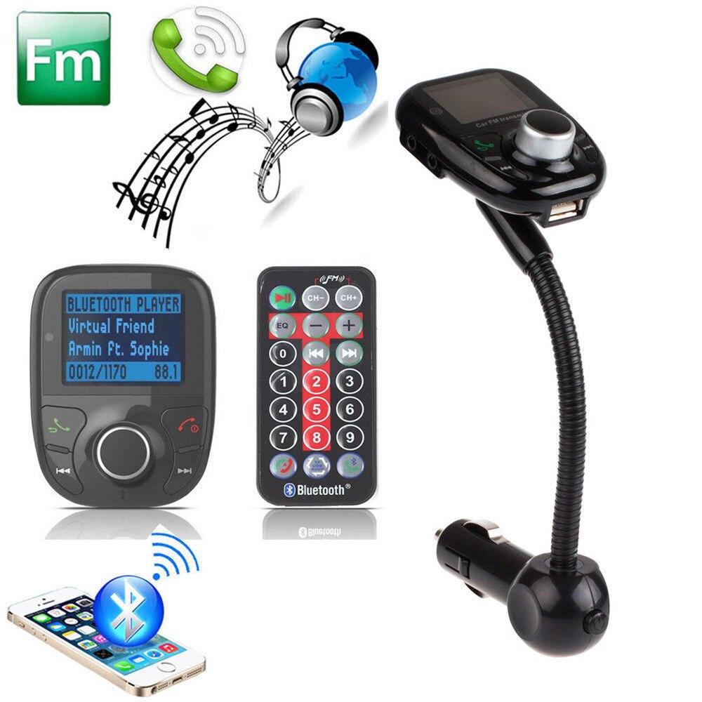 Bluetooth mains libres transmetteur FM Kit de voiture lecteur de musique MP3 Radio adaptateur avec télécommande pour iPhone Samsung LG Smartphone