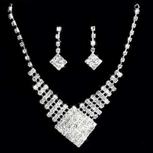 African Beads Silver Color Bridal White Crystal Square Pendant Necklace Earrings Cocktail Wedding jewelry set Engagement Jewelr