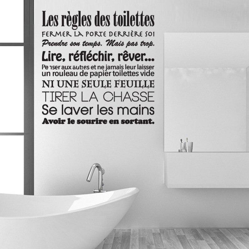 Salle de bain règles Wall Stickers Lettrage Autocollant Vinyle Rub