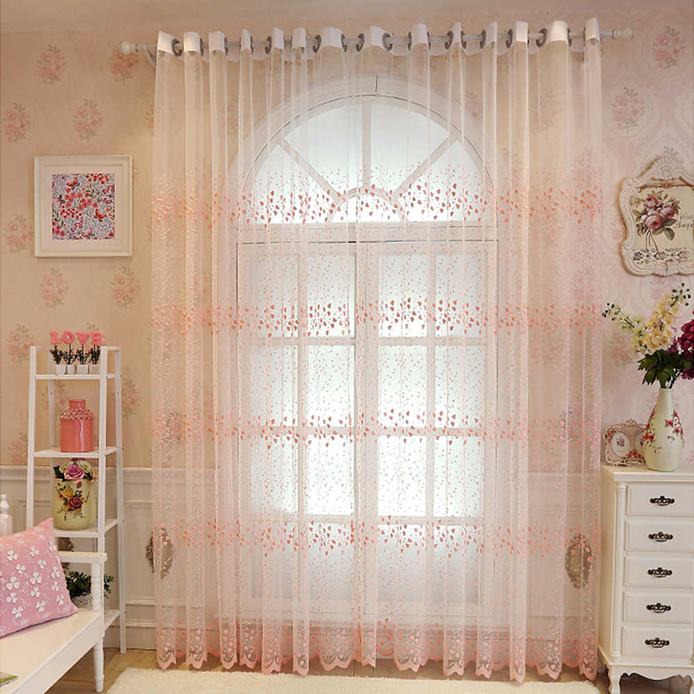 Korean Style Blue Tulle Curtains For Bedroom Balcony Embroidered Pink Flowers Lace Sheer Voile Drapes For Living Room WP2083