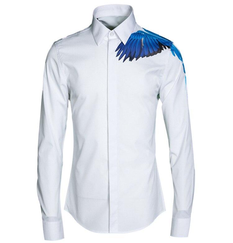 bas prix f6bbb d72eb € 36.69 15% de réduction|Luxe haute qualité hommes Chemise Chemise Homme  marque volants oiseaux impression Chemise décontracté à manches longues  Slim ...