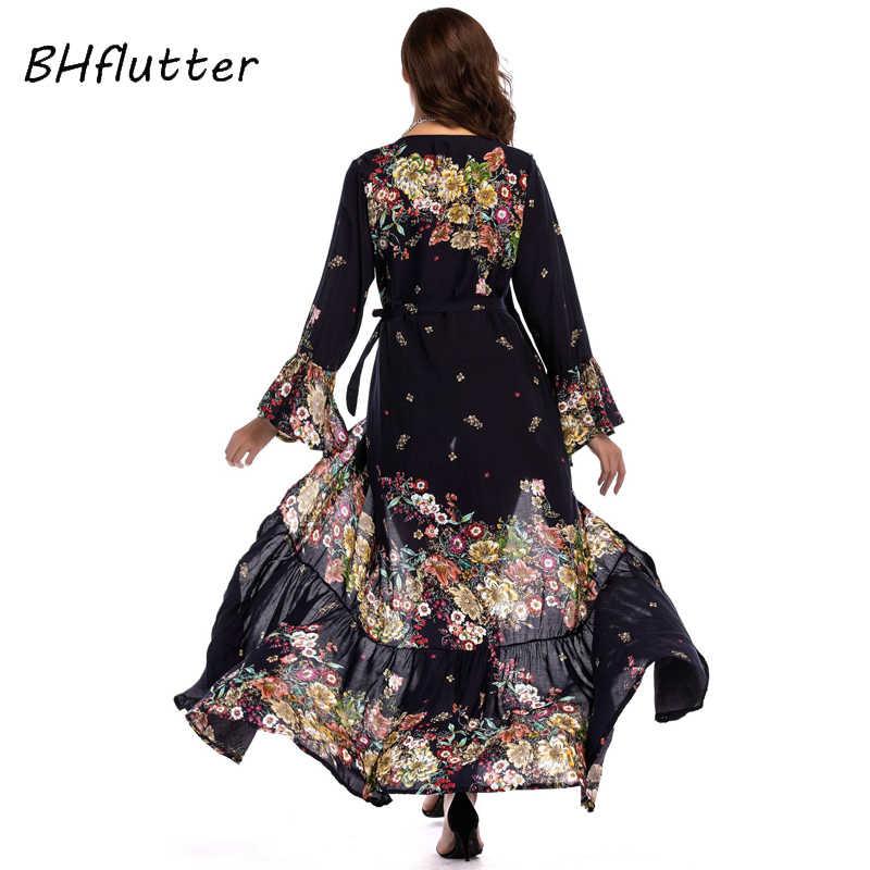 BHflutter 2018 Новое Стильное женское платье с цветочным принтом, v-образный вырез, повседневное Макси летнее платье с расклешенными рукавами, высокая талия, сексуальное длинное пляжное платье
