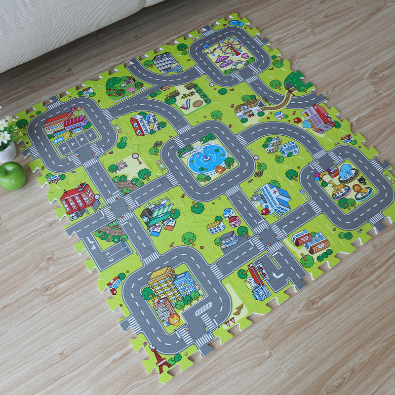 9pcs Baby EVA foam puzzle play floor mat,Education and interlocking tiles and traffic route ground pad (no edge)