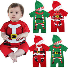 2pcs Christmas Infant Baby Girls Boys Newborn Short Sleeve Jumpsuit font b Rompers b font Outfit
