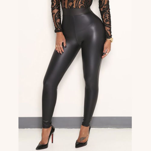 Women Stretchy Faux Leather Trousers Skinny High Waist Leggings Pencil Pants