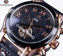 Forsining Subiu Caso de Ouro Tourbillon Design Clássico Pulseira de Couro Genuíno Relógios Mens Relógios Top Marca de Luxo Relógio Automático