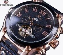 Forsining złota róża Case Tourbillon klasyczny Design zegarki na paskach z prawdziwej skóry męskie zegarki Top marka luksusowy zegarek automatyczny