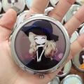 СЛУЧАЙНЫЕ девушка мини pocket зеркало для макияжа косметические компактный зеркала портативные двойные двойные стороны рама из нержавеющей стали косметика для макияжа