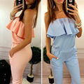 2016 summer new fashion women solid color ruffles jumpsuit sexy strapless tunic rompers plus size Long Trousers free shipping