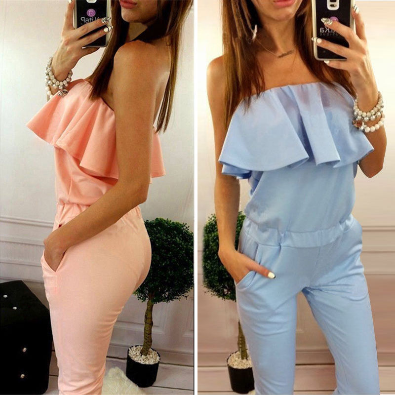 2018 summer new fashion women solid color ruffles jumpsuit sexy strapless tunic rompers plus size Long Trousers Drop shipping