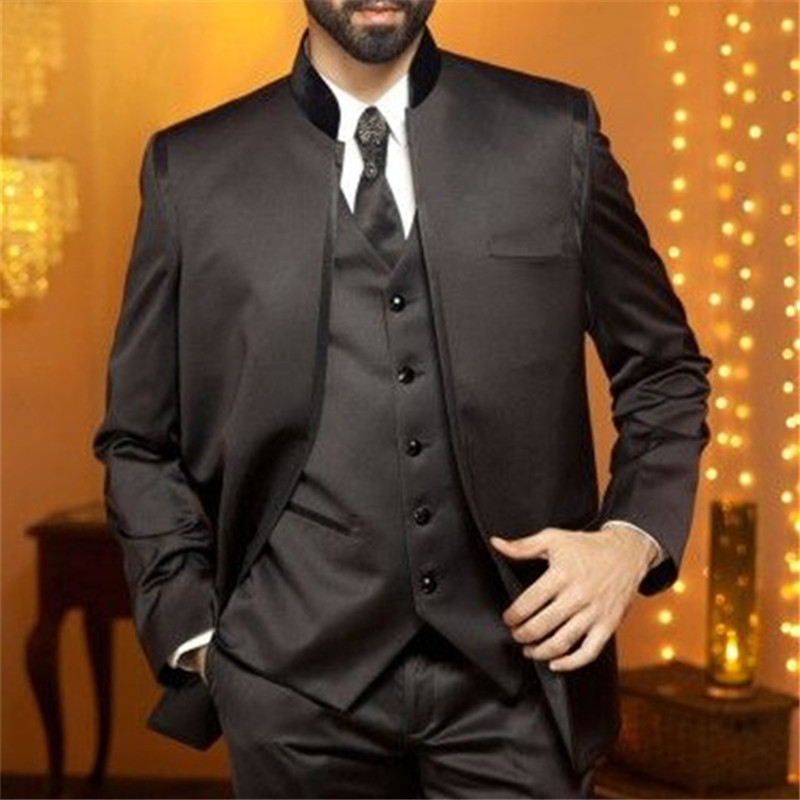 Custom Mens Suits Elegant Dark Brown Satin Slim Fit Formal Men Formal Party Tuxedos Groomsmen Wedding men suit (Jacket+Pant+Vest