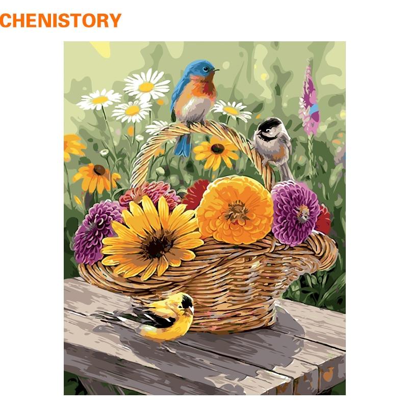 Frameless Canvas Art Oil Painting Flower Painting Design: CHENISTORY Frameless Birds Flower Basket DIY Painting By