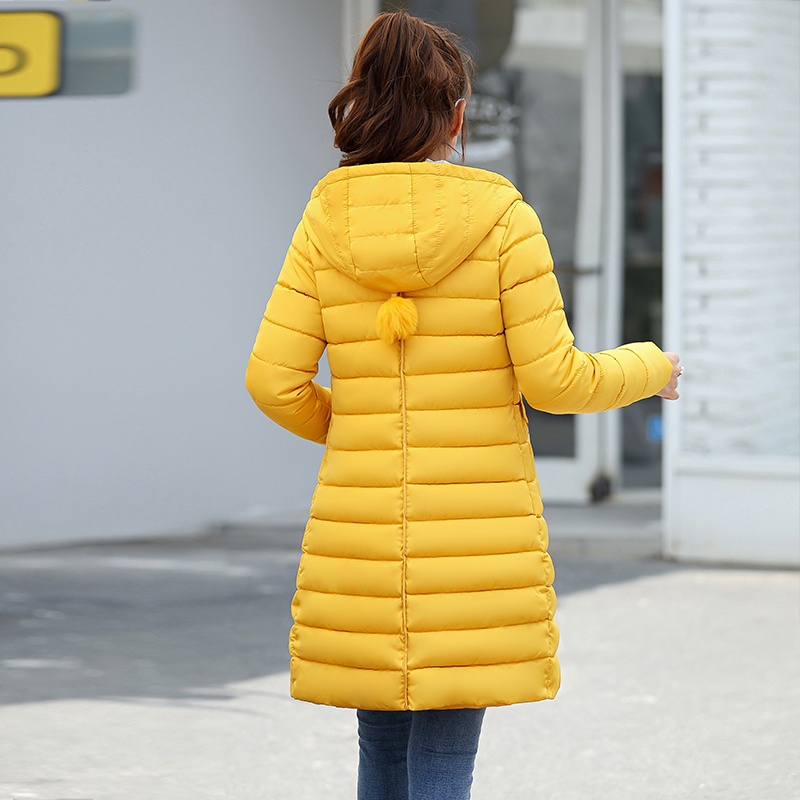 ff853715 winter jacket 2018 women new fashion solid slim fit down jackets thick warm  pockets pompom hooded jacket outwear plus size 3XL-in Parkas from Women's  ...