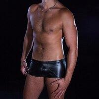 Erotische Mannen Boxers Ondergoed Sexy Stretchy Lage Taille Boxer Onderbroek Fetish Kunstleer Effen Lingerie Ondergoed M-XXL