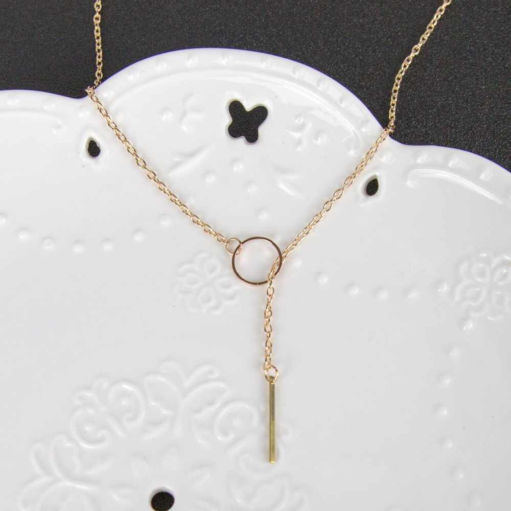 Fashion Simple long Stick Pendant Necklaces Metal Women Jewelry Choker Gold Silver Star Necklace on the Neck initial Chain