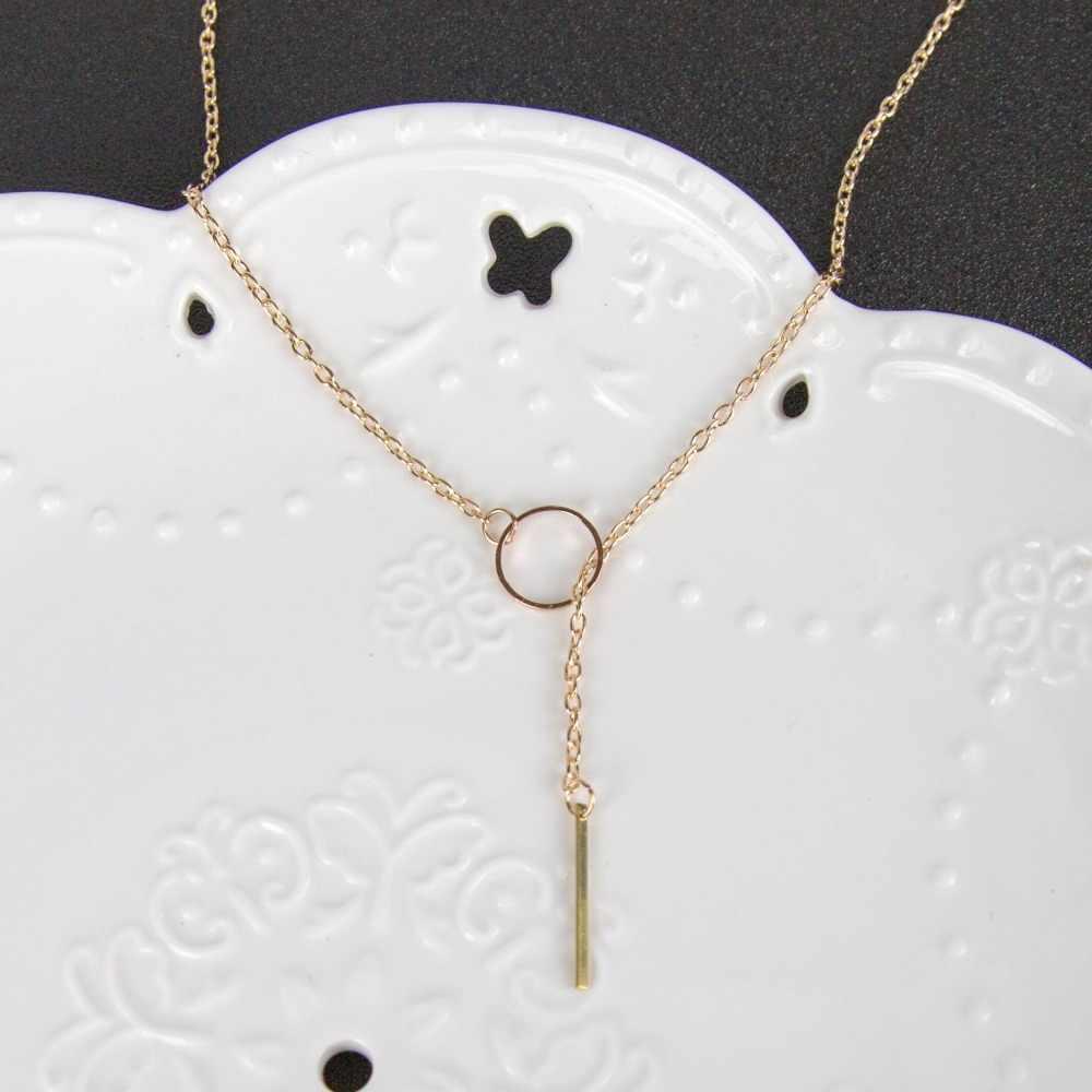 Moda Simples Vara longa Pingente Colares De Metal Gargantilha Mulheres Jóias Colar De Estrela de Prata de Ouro no Pescoço Cadeia inicial