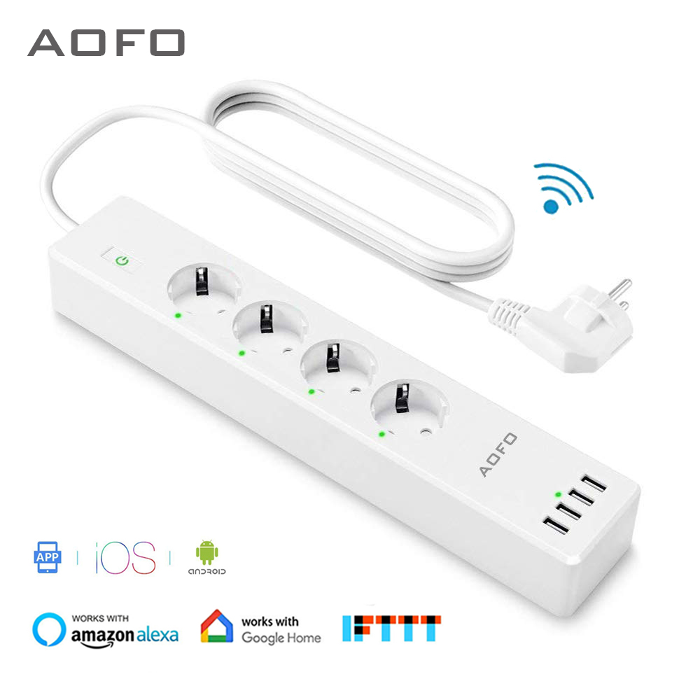 Wifi Smart Power Strip 4 EU Outlets Plug with 4 USBCharging Port Timing App Voice Control Work with Alexa Google Home Assistant-in Smart Power Socket Plug from Consumer Electronics
