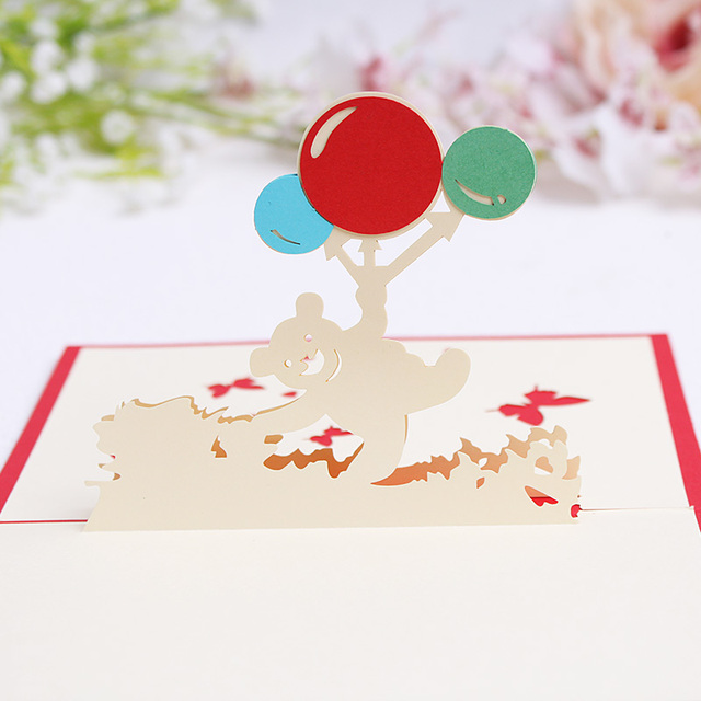 The Bear With Balloons Handmade Creative Kirigami Origami 3d Pop
