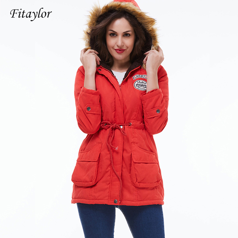 Fitaylor 2019 New Women   Parkas   Winter Plus Size Coat Thickening Cotton Winter Hooded Jacket Female Snow Outwear