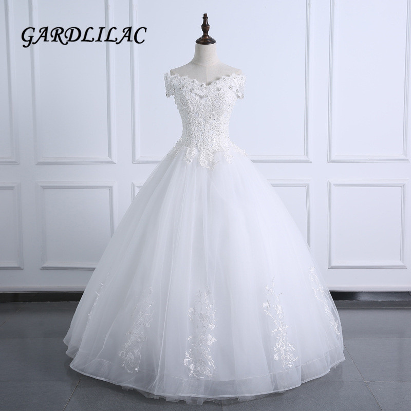 White Wedding Dress 2019: 2019 Off The Shoulder White Wedding Dress Ball Gown