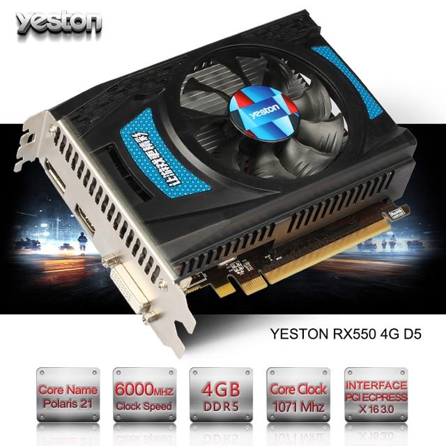 Yeston Radeon RX 550 GPU 4GB GDDR5 128bit Gaming Desktop computer PC Video Graphics Cards support DVI-D/HDMI2.0B PCI-E 3.0