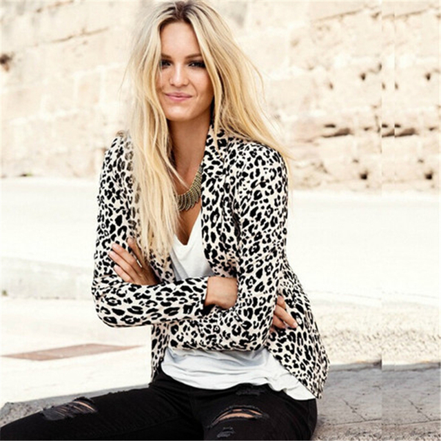 Casaco de Leopardo Ocasional do Revestimento do Revestimento Das Mulheres Blazer Feminino Outono Blazer Feminino Blaser Leopardo Outwear Ternos Blazer Para Mulher