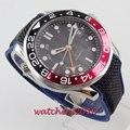Роскошные мужские часы модные автоматические сапфировое стекло черный и красный ободок светящийся дата GMT наручные часы Bliger мужские часы