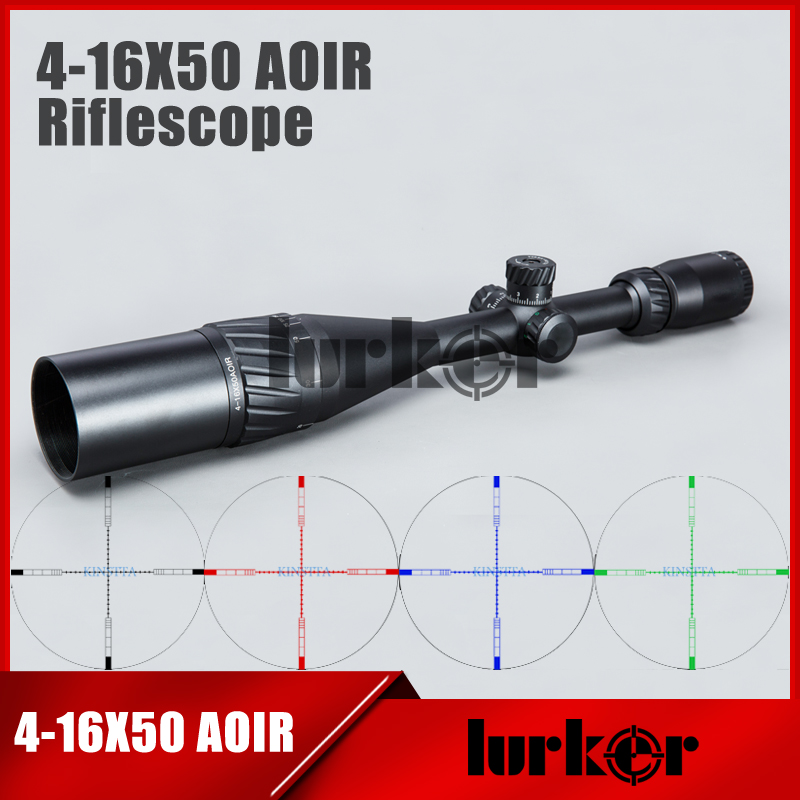 HLURKER Tactical 4 16X50 AOIR Optics Riflescope Red Green Blue Color Reticle Illumination Rifle Scope For