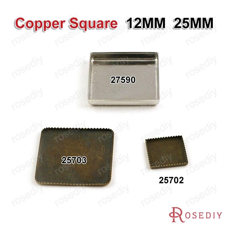 (25702) оптовая продажа внутри 12 мм 25 мм квадратных Настройки Лотки обрамление База Fit кабошон Бусины больше стилей могут взял