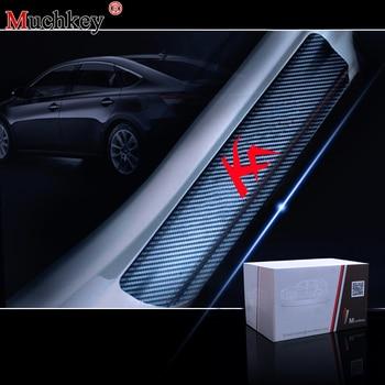 цена на For Ford KA 4D Carbon Fiber Vinyl Sticker Door Sill Protector Car Door Sill Welcome Pedal Stickers Auto Car Accessories 4Pcs