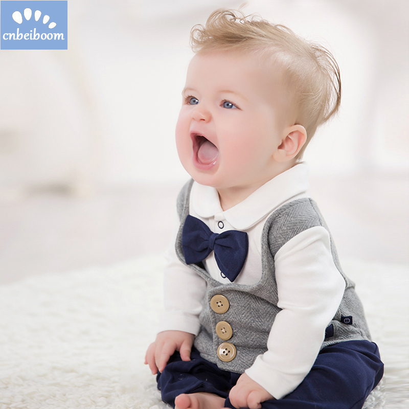2018 spring/ Autumn new born baby boys cotton romper kids infant rompers child gentleman boys birthday wedding party clothes