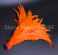 100 35 40cm / 14 16inch cock feather dyed orange, role playing wedding decoration feather