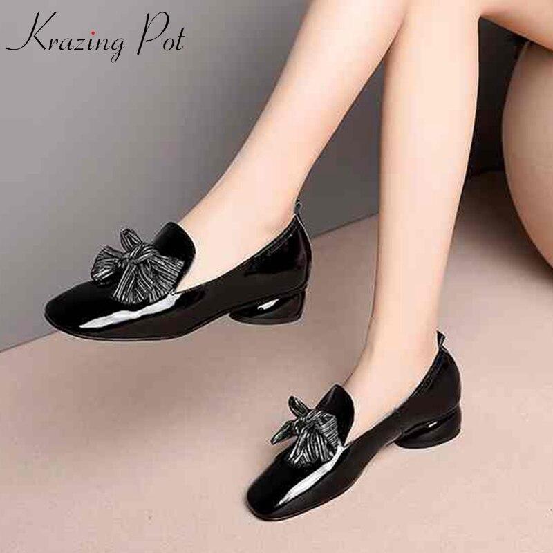 Krazing Pot 2019 nouveauté en cuir véritable style preppy streetwear chaussures femmes med talons bout rond pour les pompes de jeune fille L97-in Escarpins femme from Chaussures    1