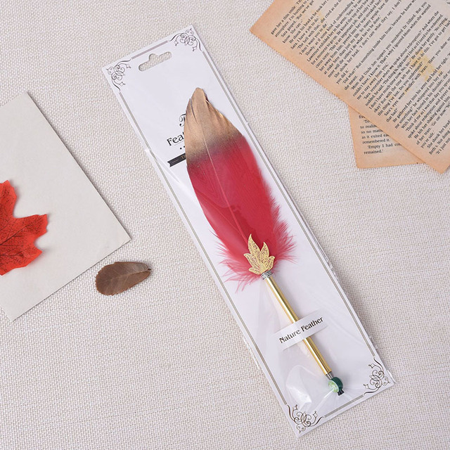 1Pc Cute Feather Ballpoint Pens 0.5mm Kawaii Ball Pens Gold Powder Pens For Writing School Office Supplies Novelty Stationery 3